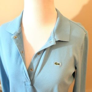 Lacoste Tops - Lacoste women's long sleeve polo baby blue size 42